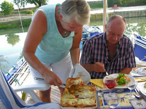 Jan dishing up her lovely homemade Lasagne